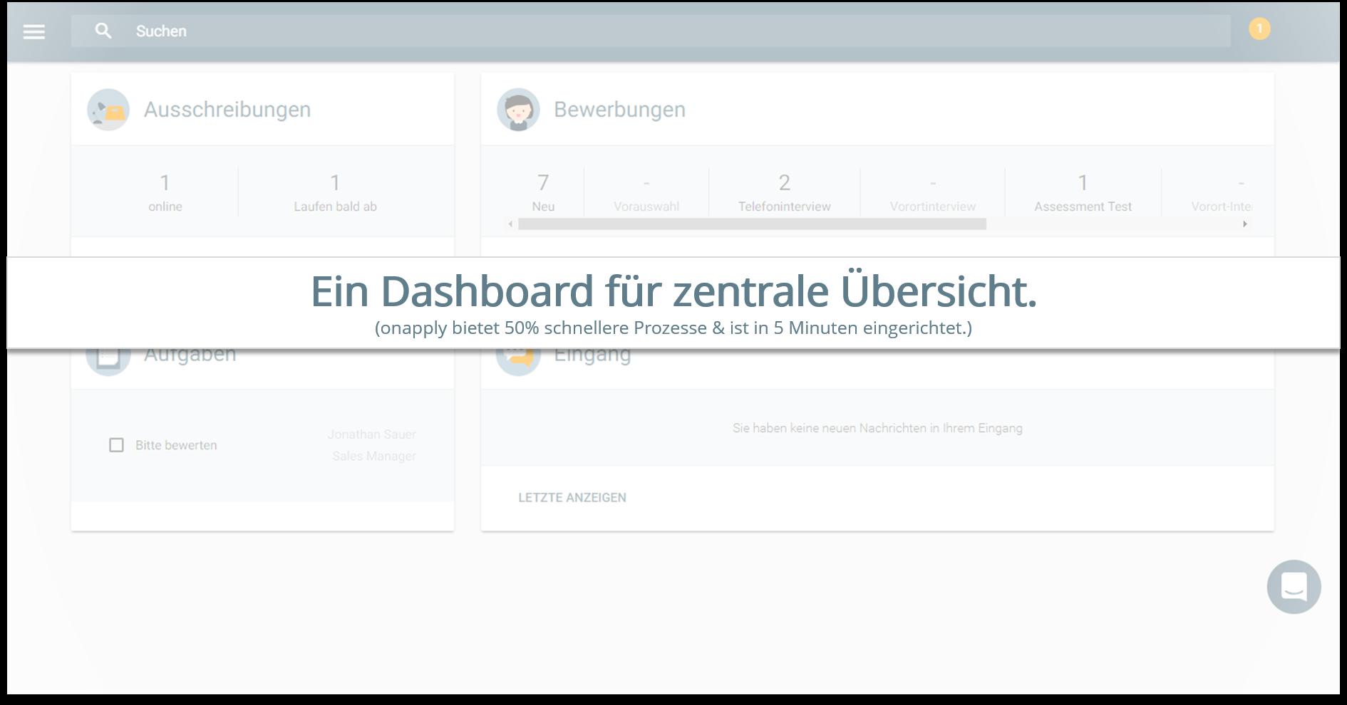 onapply Bewerbermanagement Software - Dashboard